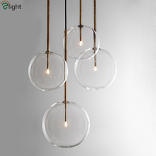1 Light Clear Glass Globe Dimmable G4 Led Pendant Lights Dining Room Lamp Gold/Chrome Hanging DropLight