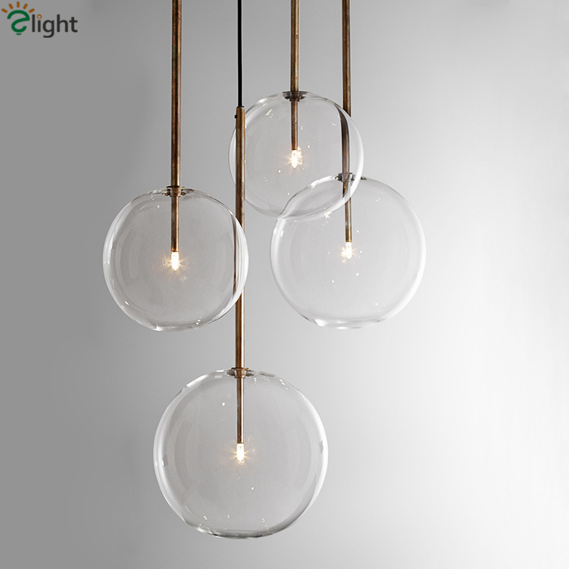 1 lumière en verre clair Globe Dimmable G4 pendentif Led lumières salle à manger pendentif Led lampe or/Chrome Led lampe suspendue Led