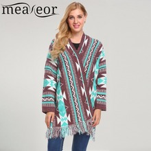 Meaneor Christmas Cardigans Sweater Women Long Sleeve Open Front Deer Pattern Knitted Shawl Cardigan Sweater Loose Warm New Tops(China)
