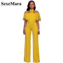50ae785e6d10 SexeMara Lace Off Shoulder One Piece Jumpsuit Women Sexy Rompers Halter  Backless Elegant Jumpsuits 2018 New