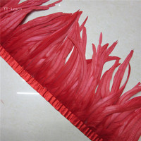 10 yards red Rooster Feathers Trim 35 40cm Chicken Feather Ribbon For Wedding Party Decoration DIY Clothes Accessories