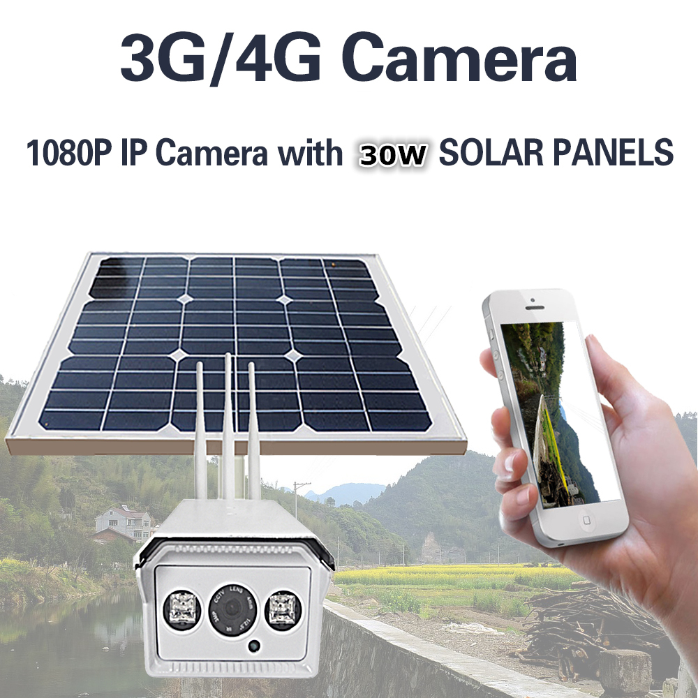 1080P Solar Power 30W Bullet IP Camera Wireless 3G 4G SIM Wifi Outdoor Waterproof IP66 Battery Surveillance Camera With 16GB TF