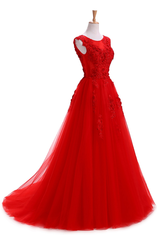 Haljina De Soiree Crvena večernja haljina Duga Plus veličina Til - Haljina za posebne prigode - Foto 3