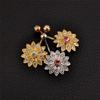 Imixlot Wholesale 1PCS Silver Gold Belly Button Ring Jeweled Flower 14G Girls Body Piercing Jewelry Fashion