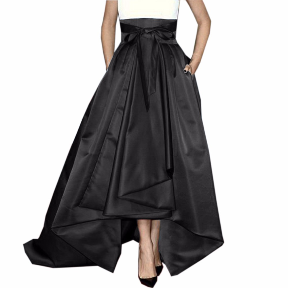 Retro Long High Low Skirts For Women To Party With Pockets Zipper Ribbon Sash Bow Female