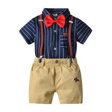 2019 Boys Clothing Sets Children Gentleman Tie Blouse Overalls Shorts Outfits Suit Kids Birthday Party Shirt Pants Clothes Set 2017 boys clothing sets autumn spring shirt vest pants children wedding clothes kids gentleman leisure handsome blouse suit