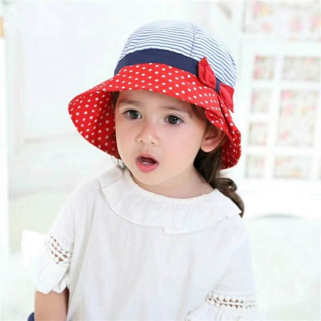 1-7T Children Kids Girls Summer Sun Hat Patchwork Contrast Color Baby Cloche  Toddler Cap Strip Dot Hat Bow Decorations 9930cefed0e