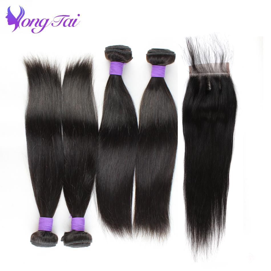 Yuyongtai Raw Indian Hair Straight Hair 4 Bundles With Closure 5Pcs/Lot Non Remy Hair Weave Human Hair Bundles With Closure