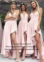 Румяна Розовый Высокая Низкая плюс размеры подружек невесты платья для женщин 2019 трапециевидной формы Длинные атласные страна пляжное дли