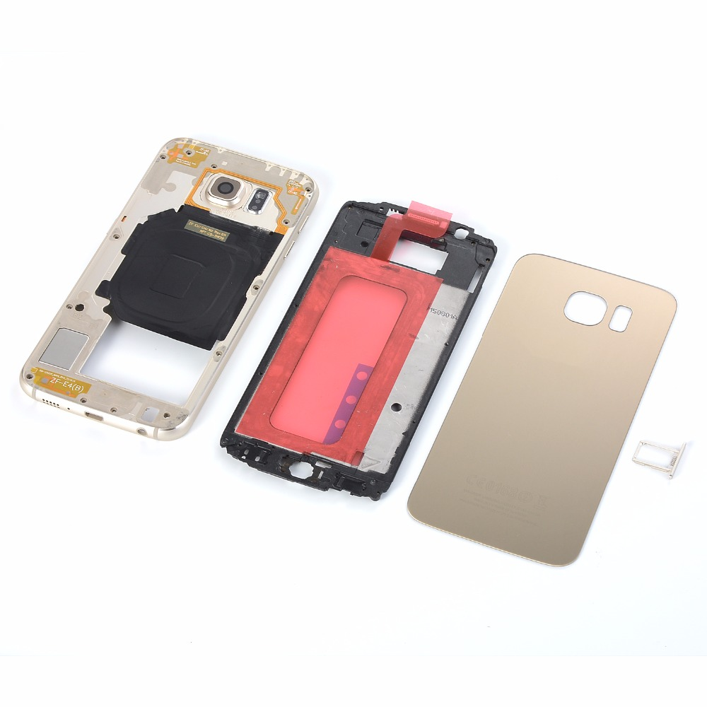 For SAMSUNG Galaxy S6 SM-G920 G920F G920A G920P Housing (Glass Battery Back cover +Middle Frame +Front Frame+ Sim Card Slot) image