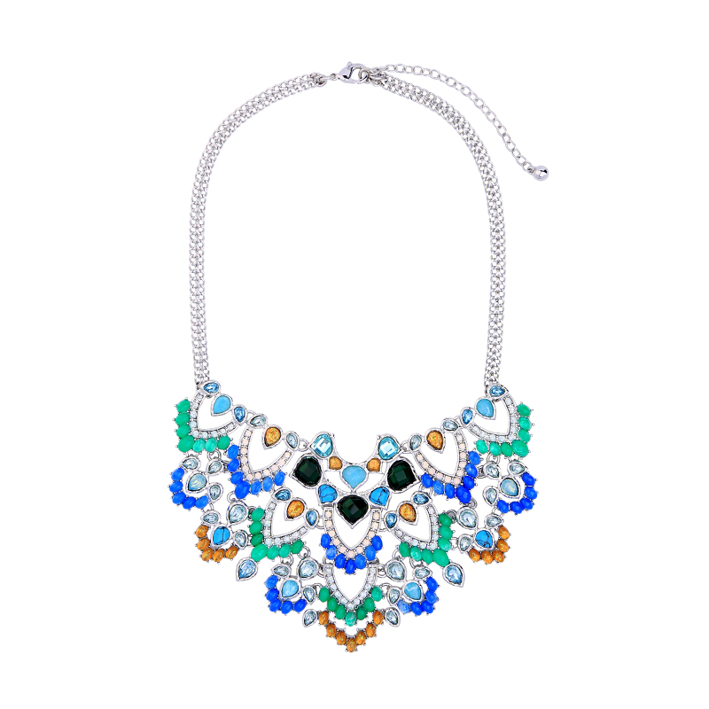 Wholesale Fashion Blue Resin Synthetic Stone Glass Crystal Necklace Chunky Colorful Chain Collar Charm Maxi Necklace For Women