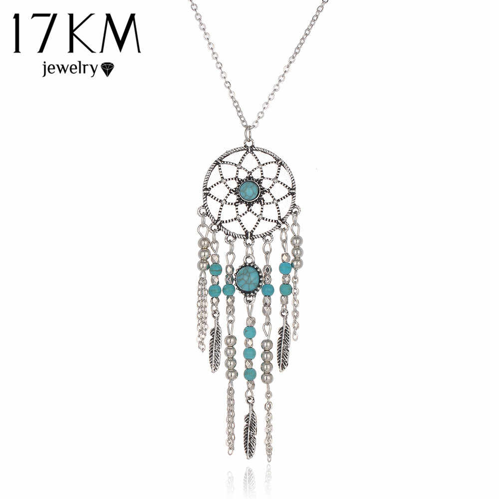 17KM Indian Style Hot New Dream Catcher Necklace Tube Collar Blue Stone Tassel Beads Necklace Bijoux Necklace for Women