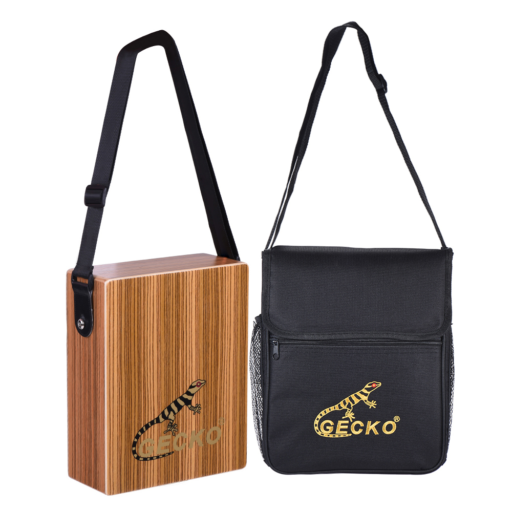 GECKO C 68Z Portable Traveling Cajon Box Drum Hand Drum Wood Percussion Instrument with Strap Carrying
