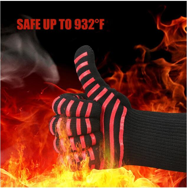 High temperature 500 800 degrees BBQ flame retardant non-slip fireproof grill insulation Microwave oven gloves high quality anti skid wear resistant cotton gloves 800 degree fire insulation flame retardant glove suit for bbq microwave oven