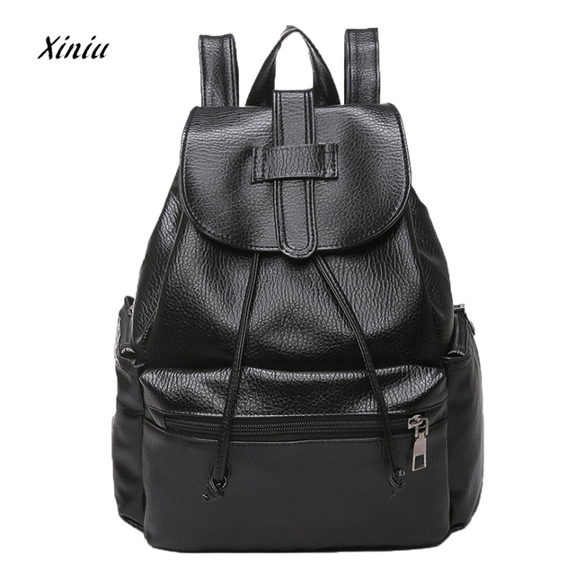 1f8e07d219e Women s Backpack Fashion Luxury PU Leather School Shoulder Bags for Teenage  Girls Ladies Casual Black Backpacks Women mochila