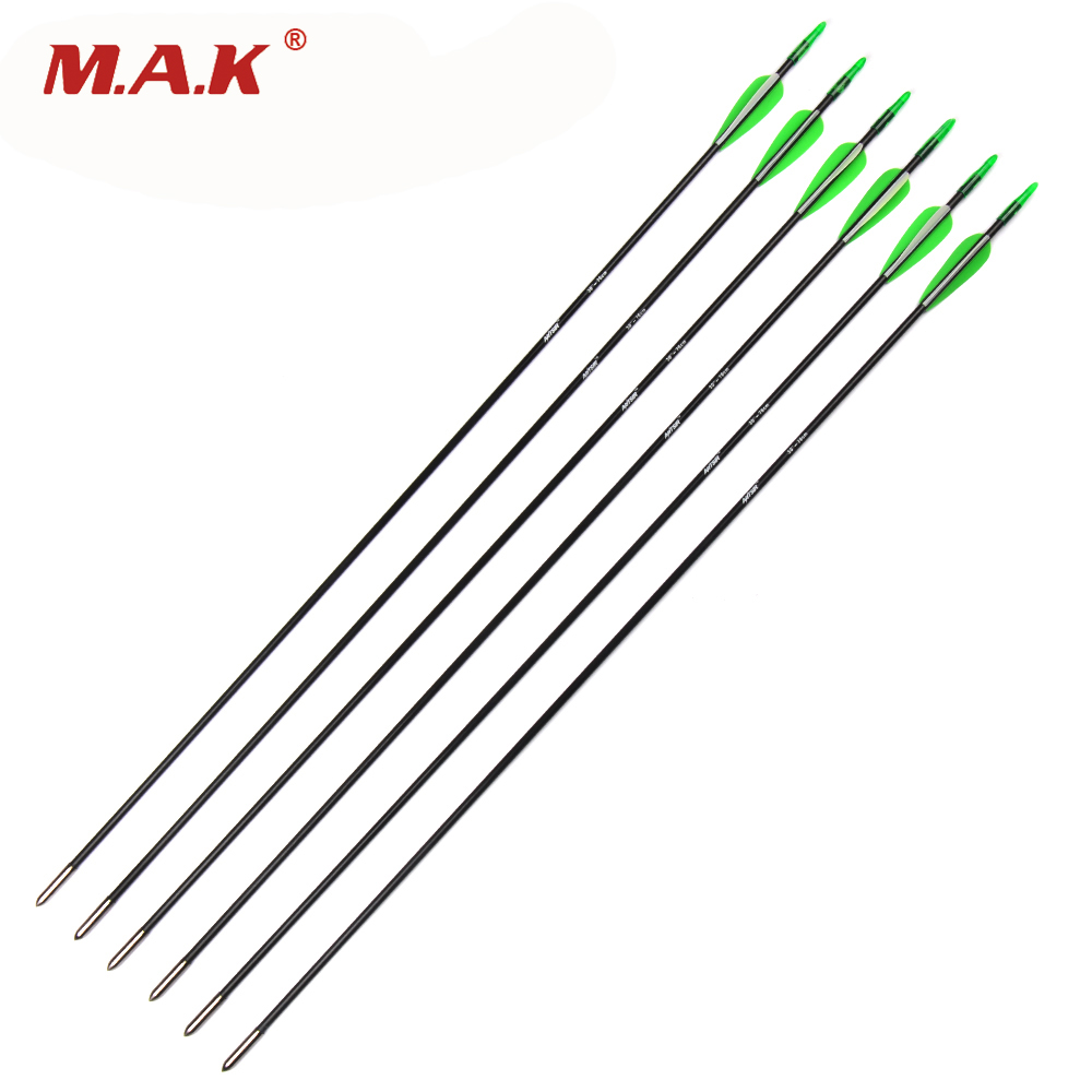 12/24pcs Spine 700 OD 6mm Archery Fiberglass Arrows Arrow Length 30 Inches for 20-40lbs Recurve Bows Archery Shooting Hunting spine lady 357 40
