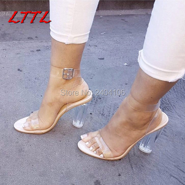Lttl Summer Fashion Nude Party Wedding Shoes Woman Clear -3698