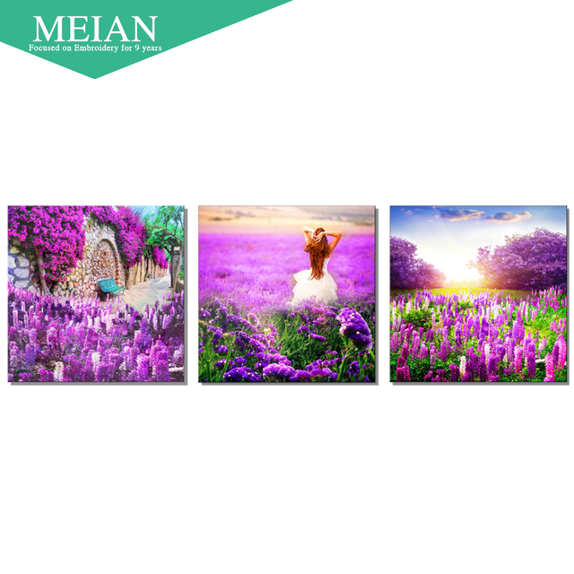 of the new 3D cross stitch painting of the living room, lavender precise printing bedroom full of beautiful landscape