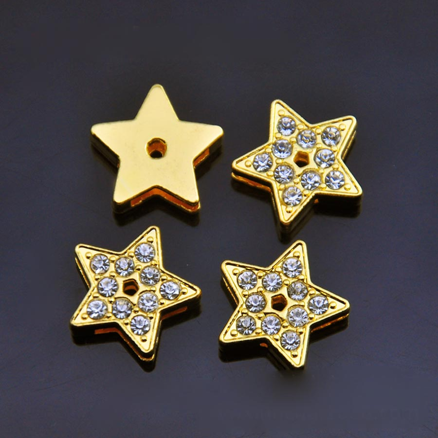 Wholesale 20PCS/Lot 8MM Gold Star Slide Charms Fit for 8MM Wristband or Belt SC167