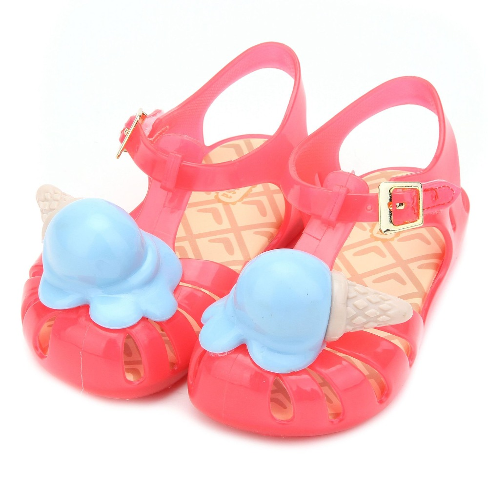Mini Melissa Ice Cream Girl Sandals 2018 Summer Sandals Rain Shoes Melissa Sandals Breathable Soft Bottom Shoes Rome Sandals