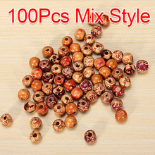 100 Pcs 9x10mm Mix Style Round Wooden Beads Loose Spacer DIY Beads For Jewelry Findings Jewelry making Necklace Bracelet