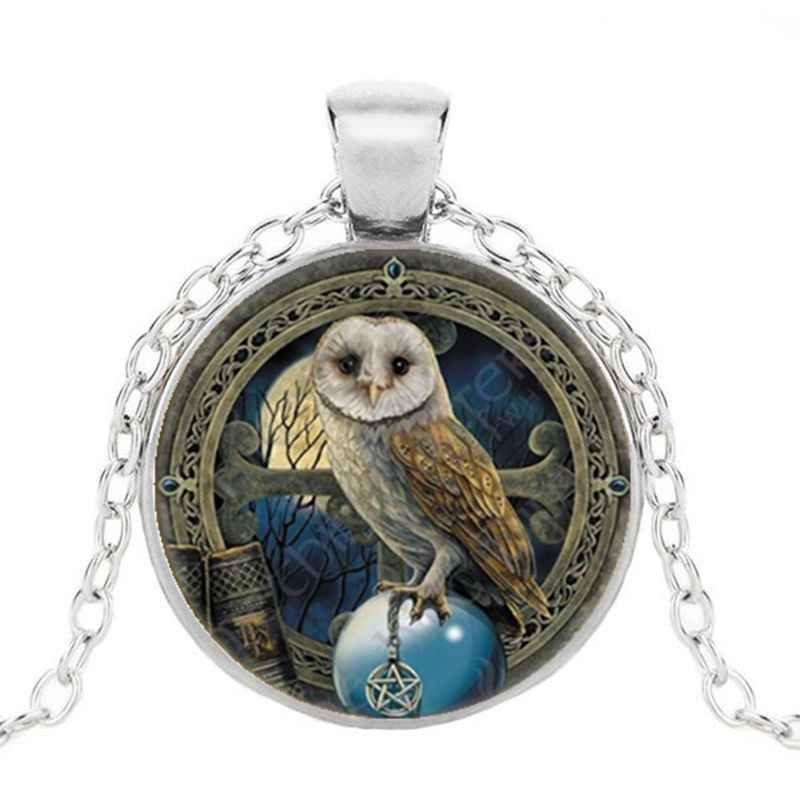 Necklace  Wicca Owl Photo Tibet Silver Cabochon Glass Pendant Chain Necklace