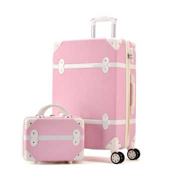 TRAVEL TALE women hard retro rolling luggage set trolley baggage with cosmetic bag vintage suitcase for girls
