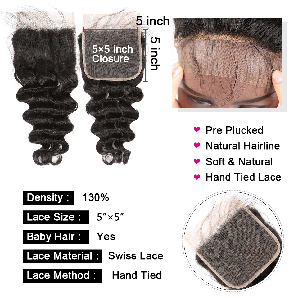 Yyong 5X5 3/4 Loose Deep Wave Bundles With Closure 2020 New  4x4 Closure With Bundles  With Lace Closure 6