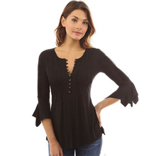 Plus Size Women Blouse Long Top Casual Solid V-Neck Flare Sleeve Sexy Slim Fashion for Spring Elegant Clothes
