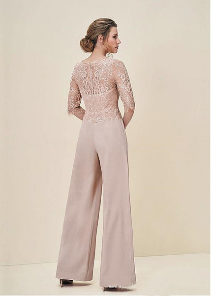 317db46ce64 New Arrival 2018 Jumpsuits Lace Pastel Half Sleeves Elegant Wedding Guest  Dress Zipper Back Long Mother Of The Bride Pant Suits-in Mother of the Bride  ...