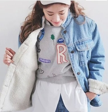 Winter Lambs Wool Denim Jacket Casual Loose Blue Denim Outerwear Thickening Coat Female