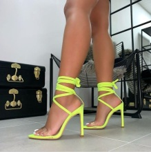 Fluorescent Lemon Yellow Color Clear PVC Strap Women Sandals Cut-out Peep Toe Tie-up Gladiator Thin Heels Shoes