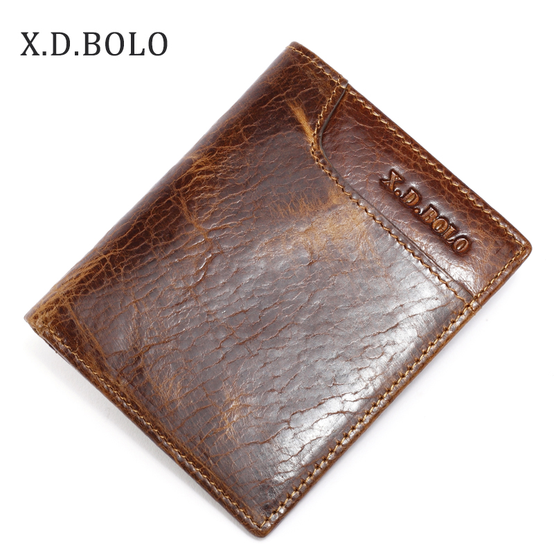 Men Wallet Front-Pocket Cowhide Small Vintage Male Genuine-Leather of Made XDBOLO Original