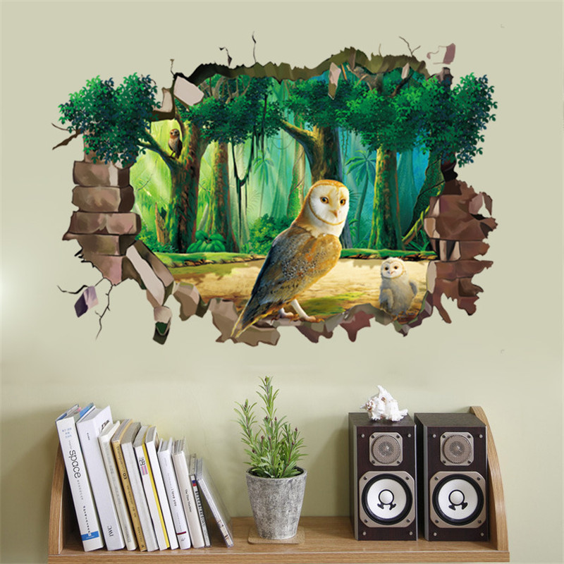 1 PCS Large Hole Owl 50*70CM Wall Stickers 3D Sticker For Livingroom Bathroom Home Decor HANDANWEIRAN