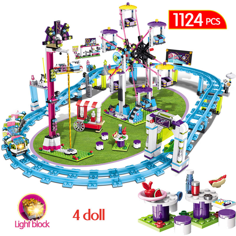 1124 pièces Compatible avec les blocs amis parc d'attractions montagnes russes Figure modèle construction jouets Hobbie enfants filles