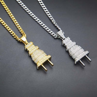 24K Gold Silver Plated Hiphop 421pcs Rhinestone Plug Pendant Necklace With 27 5inch Long Cuban Link