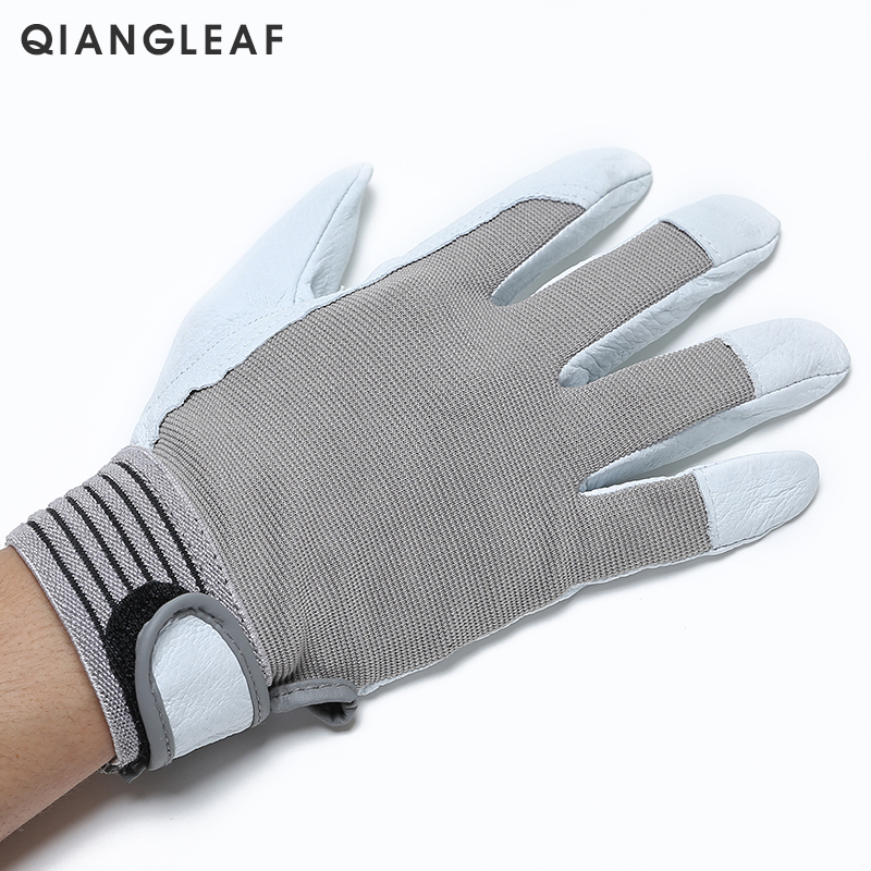 Image 2 - QIANGLEAF Brand Hot Sale D Grade Leather Glove Work Gloves Wear resistant Safety  Working Gloves Men Mitten Free Shipping 508-in Safety Gloves from Security & Protection