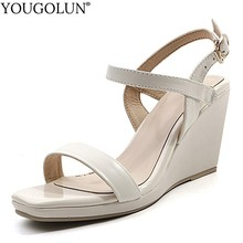 Cow Leather Wedges Sandals Women Summer Lady T-Strap High Heels Sandal A272 Sexy Woman Buckle Apricot Black Beige T-Strap Shoes karinluna wholesale bohemia style t strap women shoes summer sandals fashion wedges high heels woman shoes