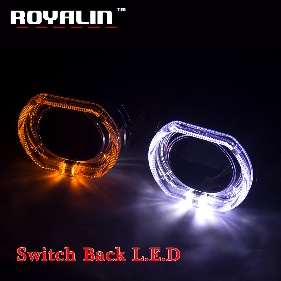 ROYALIN 2.5 Metal H1 Projector Lens Headlights For BMW X5-R Switchback LED Angel Eyes Shroud Turn Signal Light H4 H7 Car Styling royalin car styling hid h1 bi xenon headlight projector lens 3 0 inch full metal w 360 devil eyes red blue for h4 h7 auto light