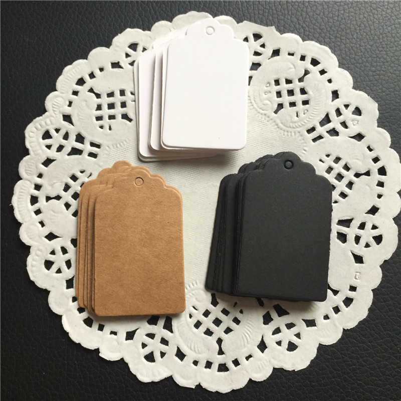 Festival Of Speed >> 100pcs Black White Brown Paper Tags DIY Gift Decorating Tag Scallop Festival Wedding Decoration ...