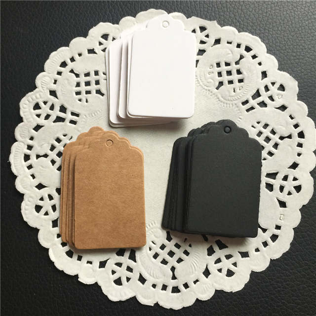 Us 189 5 Off100pcs Black White Brown Paper Tags Diy Gift Decorating Tag Scallop Festival Wedding Decoration Table Message Cards 53cm In Party Diy