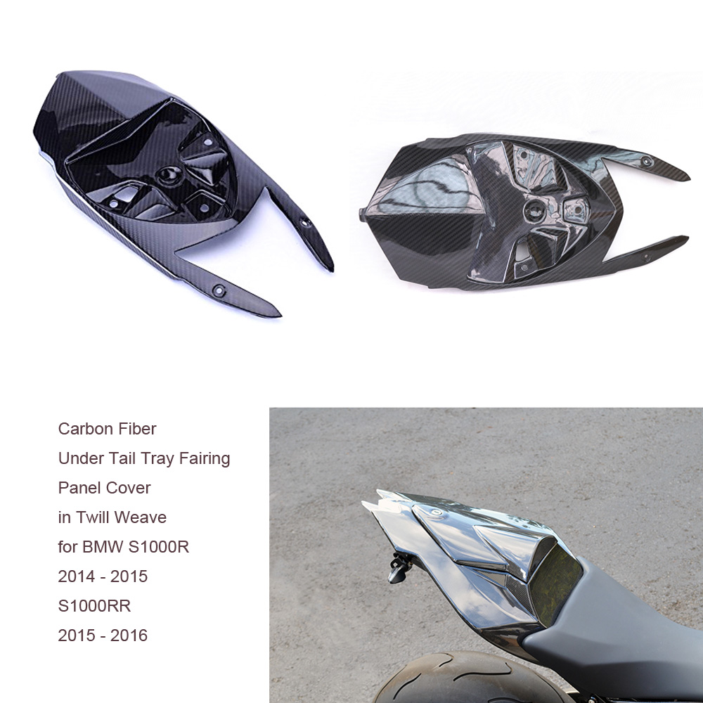 Motorcycle Twill Carbon Fiber Glass Under Tail Tray Fairing Panel Cover in Twill Weave for BMW S1000R 2014 - 2015 S1000RR 15-16 yandex w205 amg style carbon fiber rear spoiler for benz w205 c200 c250 c300 c350 4door 2015 2016 2017