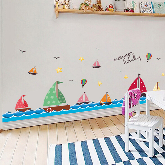 Cartoon Sea Sailing Hot Air Balloon Wall Stickers Kids Room Decor Diy Decal  Removable Wallpaper