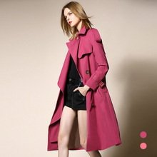 Large Lapel Double-breasted Knee-length Trench B16