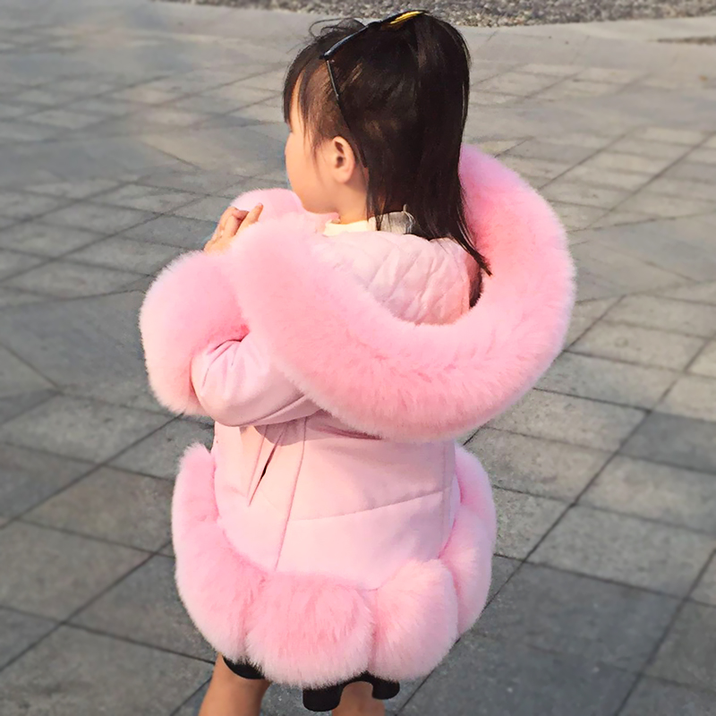 Girl's coats PU leather faux fur down jacket hooded kids parka winter thicken teenage outwear snow wear