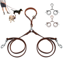 2 Ways Dog Leash Double Two Pet Leather Leads NoTangle Coupler With Handle for Walking and Training 2 Small Medium Dogs