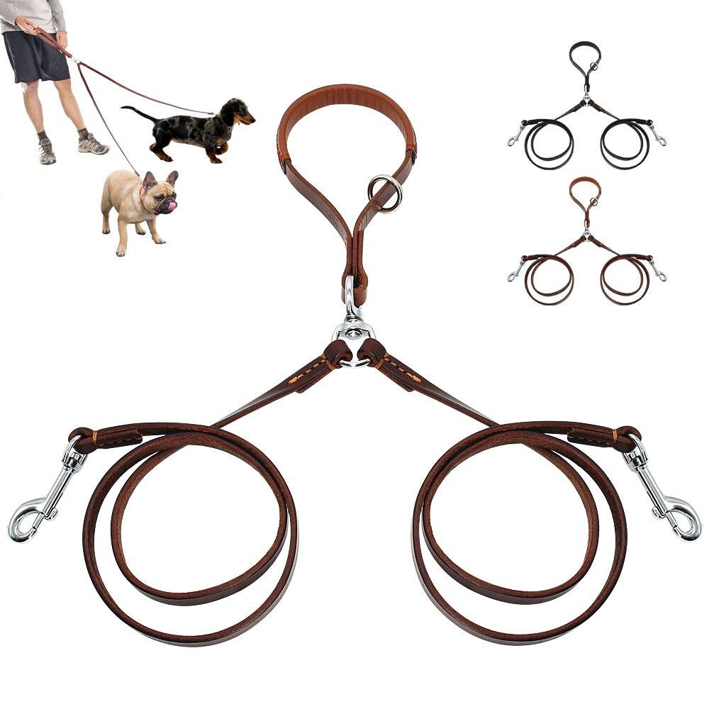 2 maneras correa de perro doble dos cables de cuero para mascotas acoplador de muesca con mango para caminar y entrenar 2 perros medianos pequeños