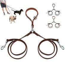 Coleira para cachorro dupla 2 vias, couro para animais de estimação, acoplador notangular com alça para caminhada e treinamento 2 pequenos e médios cães