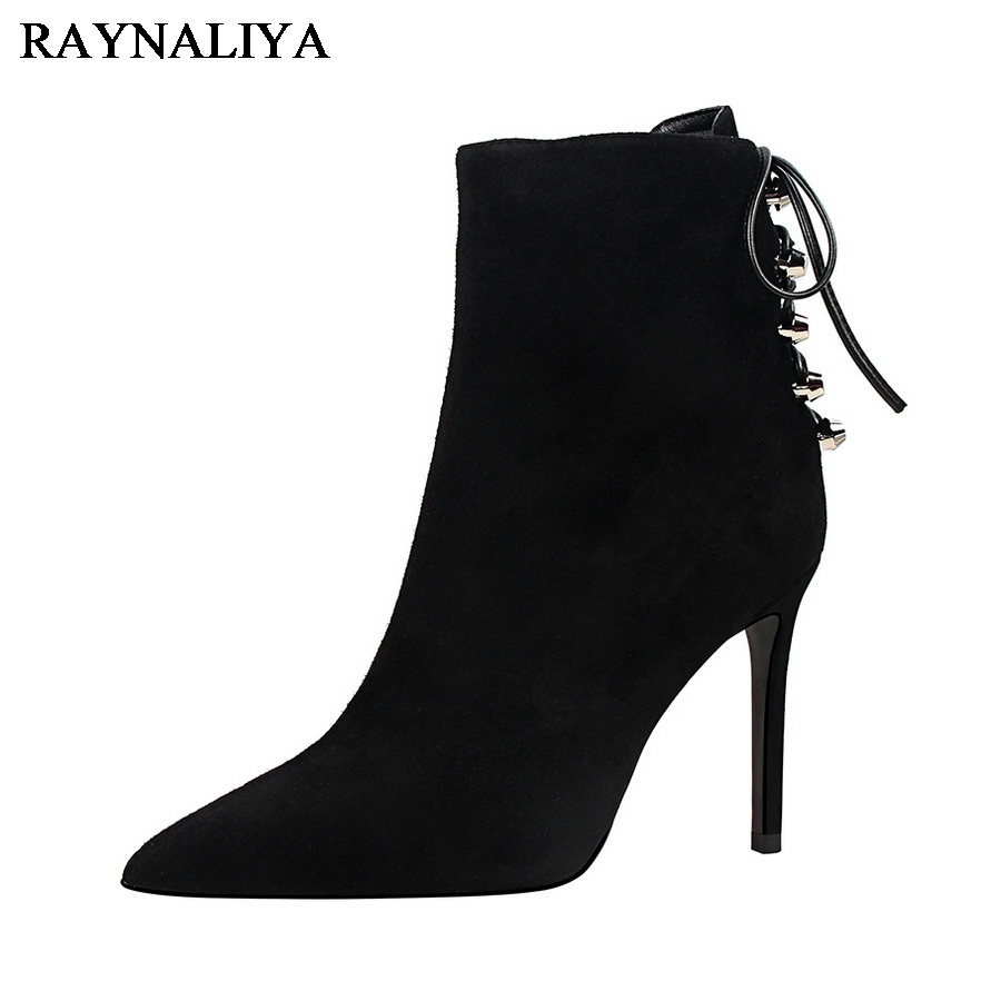 Black Sexy Thin High-heeled Boots Women Side Zipper Fashion Pointed Toe Shoes Ankle Boots For Woman Heels Autumn DS-B0138