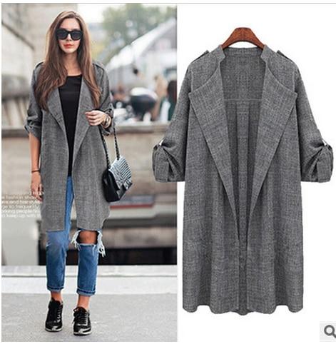 S-5XL Womens Long   Trench   Linen Cotton Windbreaker Coat Outwear Breathable Women Plus Size Coats